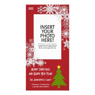 Árbol de navidad con los copos de nieve tarjeta personal con foto