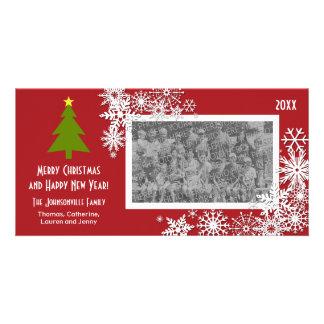 Árbol de navidad con los copos de nieve tarjetas personales