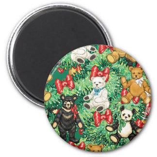Árbol de navidad con los ornamentos del oso de pel imanes de nevera