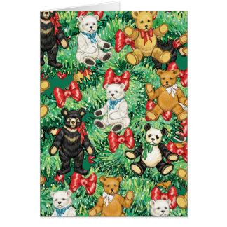 Árbol de navidad con los ornamentos del oso de pel tarjeton