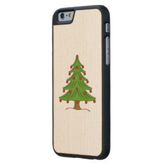 Árbol de navidad con los ornamentos rojos funda de iPhone 6 carved® de arce