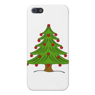 Árbol de navidad con los ornamentos rojos iPhone 5 fundas