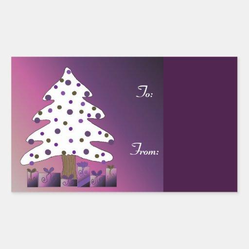 Árbol de navidad con los presentes púrpuras rectangular altavoz