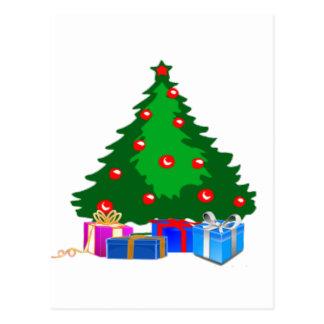Árbol de navidad con los presentes tarjetas postales