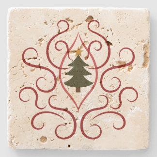 Árbol de navidad con remolinos posavasos de piedra