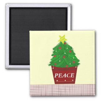 Árbol de navidad con un mensaje de la paz iman para frigorífico