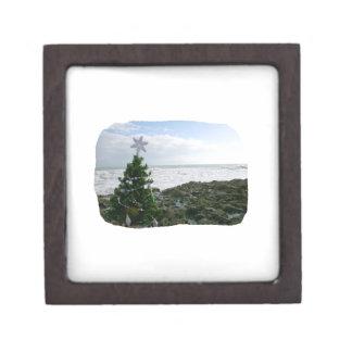 Árbol de navidad contra rocas de la playa caja de recuerdo de calidad