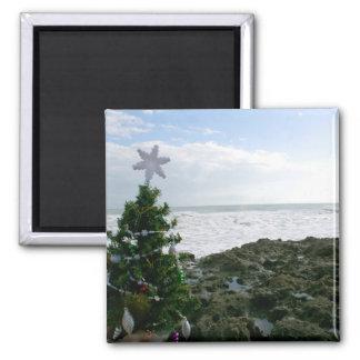 Árbol de navidad contra rocas de la playa imán