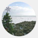 Árbol de navidad contra rocas de la playa etiqueta redonda