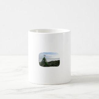 Árbol de navidad contra rocas de la playa tazas