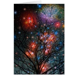 Árbol de navidad cósmico tarjeta de felicitación