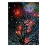 Árbol de navidad cósmico tarjetón