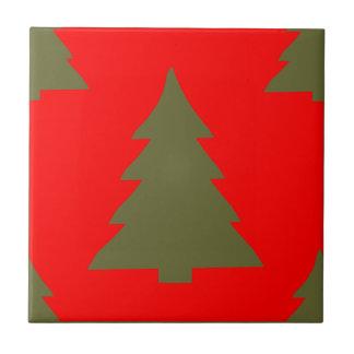 Árbol de navidad cualquier rojo del color azulejo ceramica