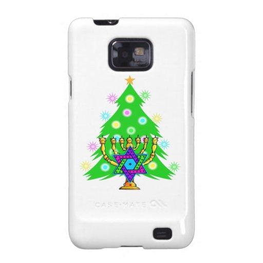 Árbol de navidad de Chanukah Menorah Galaxy S2 Carcasa