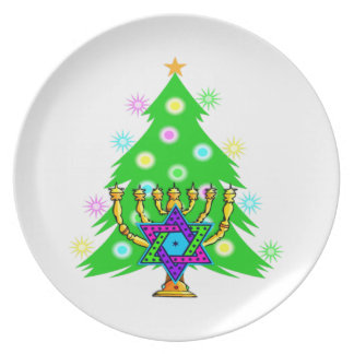 Árbol de navidad de Chanukah Menorah Plato De Comida