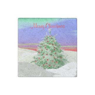 Árbol de navidad de corazones imán de piedra