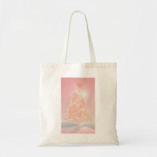 Árbol de navidad de cristal rosado bolsa tela barata