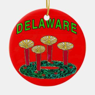Árbol de navidad de Delaware Adorno Navideño Redondo De Cerámica