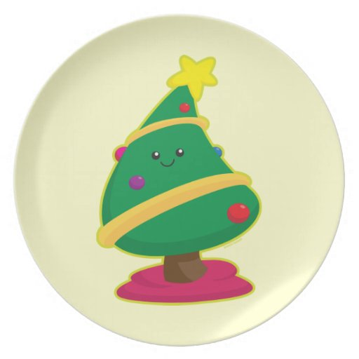 Árbol de navidad de Kawaii Plato De Cena