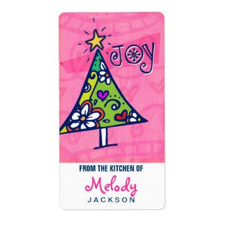 Árbol de navidad de la alegría del día de fiesta,  etiquetas de envío