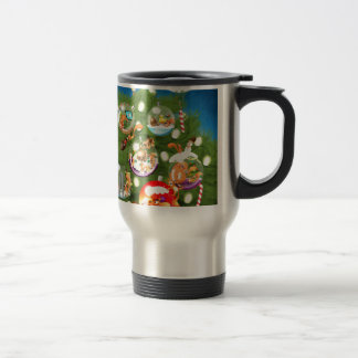 Árbol de navidad de la ardilla taza de viaje de acero inoxidable