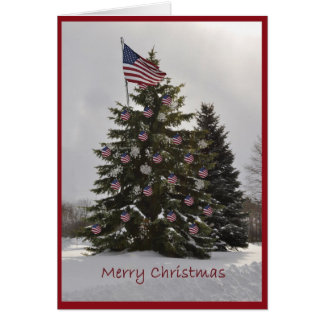 Árbol de navidad de la bandera tarjetón