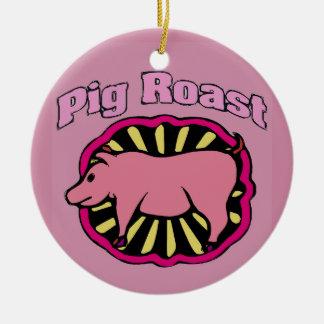 Árbol de navidad de la carne asada del cerdo adorno navideño redondo de cerámica