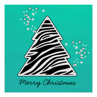 Árbol de navidad de la cebra de la turquesa póster