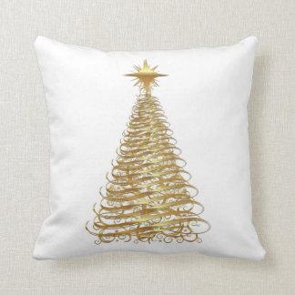 Árbol de navidad de la cinta del oro cojin
