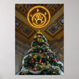 Árbol de navidad de la estación de la unión póster