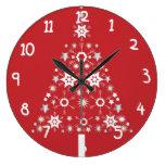 Árbol de navidad de la estrella en fondo rojo reloj