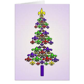 Árbol de navidad de la flor de lis tarjeta de felicitación