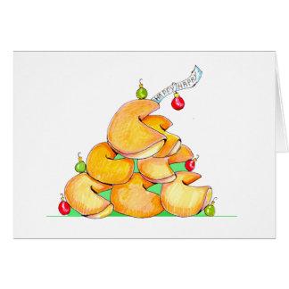Árbol de navidad de la galleta de la suerte tarjeta de felicitación