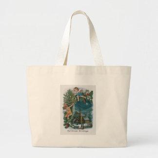 Árbol de navidad de la querube del ángel de la bolsa tela grande