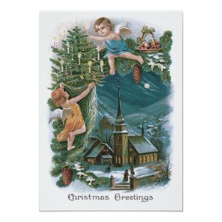 """Árbol de navidad de la querube del ángel de la invitación 5"""" x 7"""""""