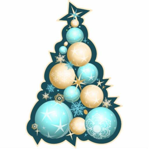 Árbol de navidad de las burbujas de la turquesa y adorno fotoescultura
