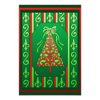 Árbol de navidad de las rayas de los remolinos del impresiones fotográficas