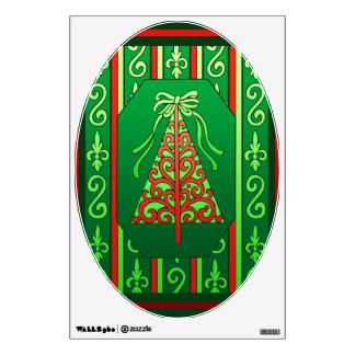 Árbol de navidad de las rayas de los remolinos del vinilo adhesivo
