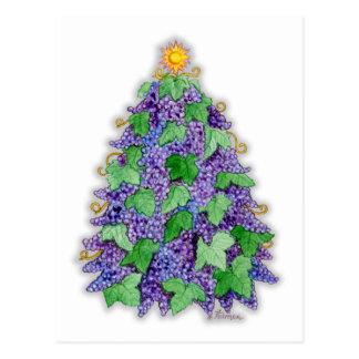 Árbol de navidad de las uvas de vino postales