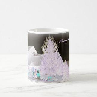 Árbol de navidad de Lavendar Taza Básica Blanca