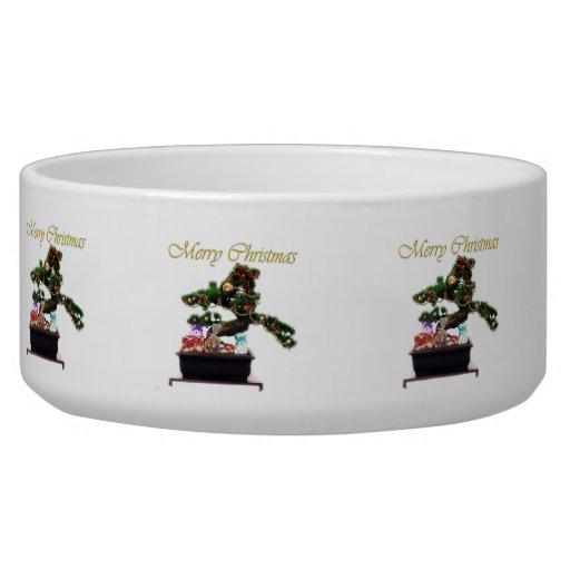Árbol de navidad de los bonsais bol para perro