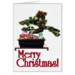 Árbol de navidad de los bonsais tarjeta