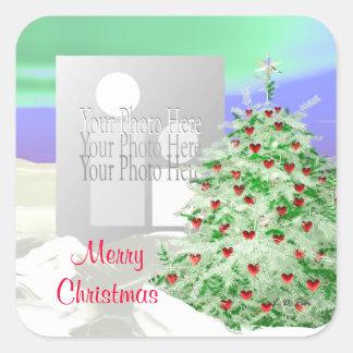 Árbol de navidad de los corazones (marco de la pegatina cuadrada