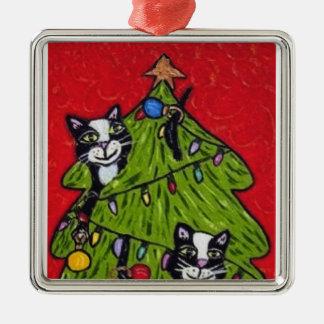 Árbol de navidad de los gatos del arte popular adorno navideño cuadrado de metal