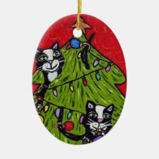 Árbol de navidad de los gatos del arte popular adorno navideño ovalado de cerámica