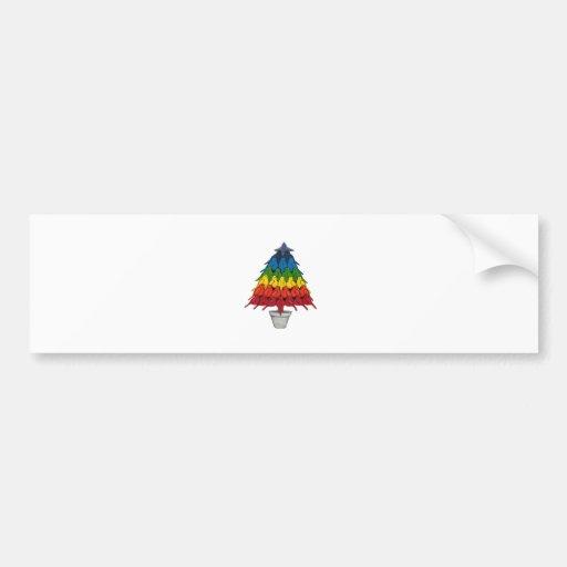 Árbol de navidad de los petirrojos del arco iris pegatina para auto