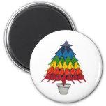 Árbol de navidad de los petirrojos del arco iris imanes para frigoríficos