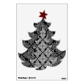 Árbol de navidad de lujo adornado vinilo decorativo