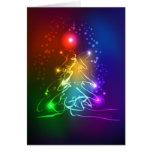 Árbol de navidad de neón contemporáneo tarjeta de felicitación
