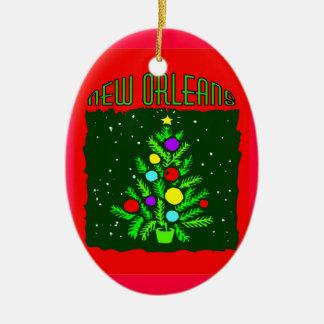 Árbol de navidad de New Orleans Adorno Ovalado De Cerámica